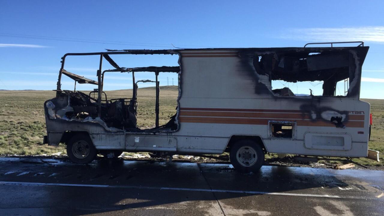 RV fire kills one in I-84