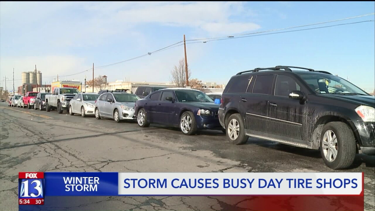 Winter weather, Thanksgiving travel has tire store packed