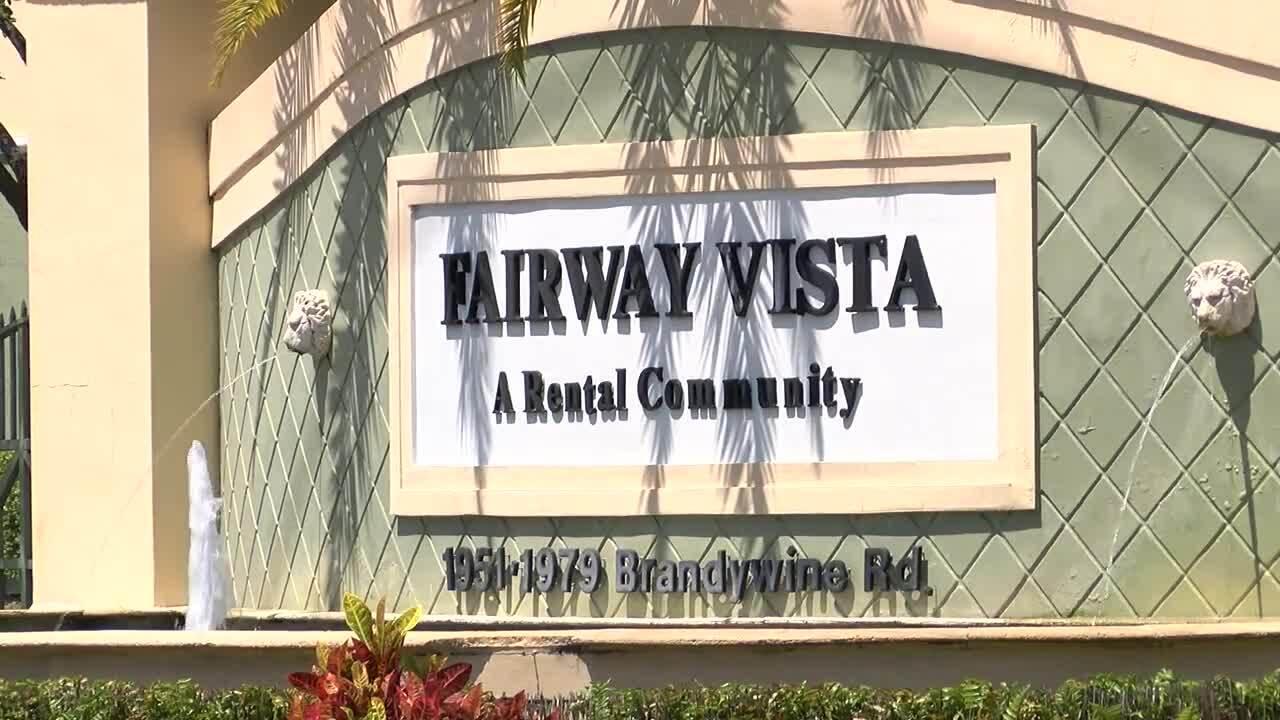 Fairway Vista apartment complex sign after fatal shooting, June 5, 2021