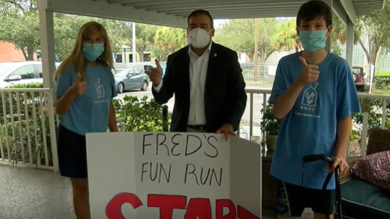Florida 11-year-old with cerebral palsy runs 5K over 10 days for Ronald McDonald House