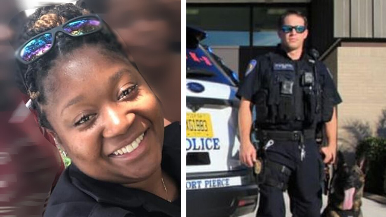 Fort Pierce police Officer Monica Frederic and Officer Albert Eckrode arrested