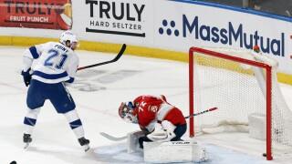 Tampa Bay Lightning defenseman Brayden Post scores game-winning goal past Florida Panthers goaltender Sergei Bobrovsky in first game of playoffs, May 16, 2021