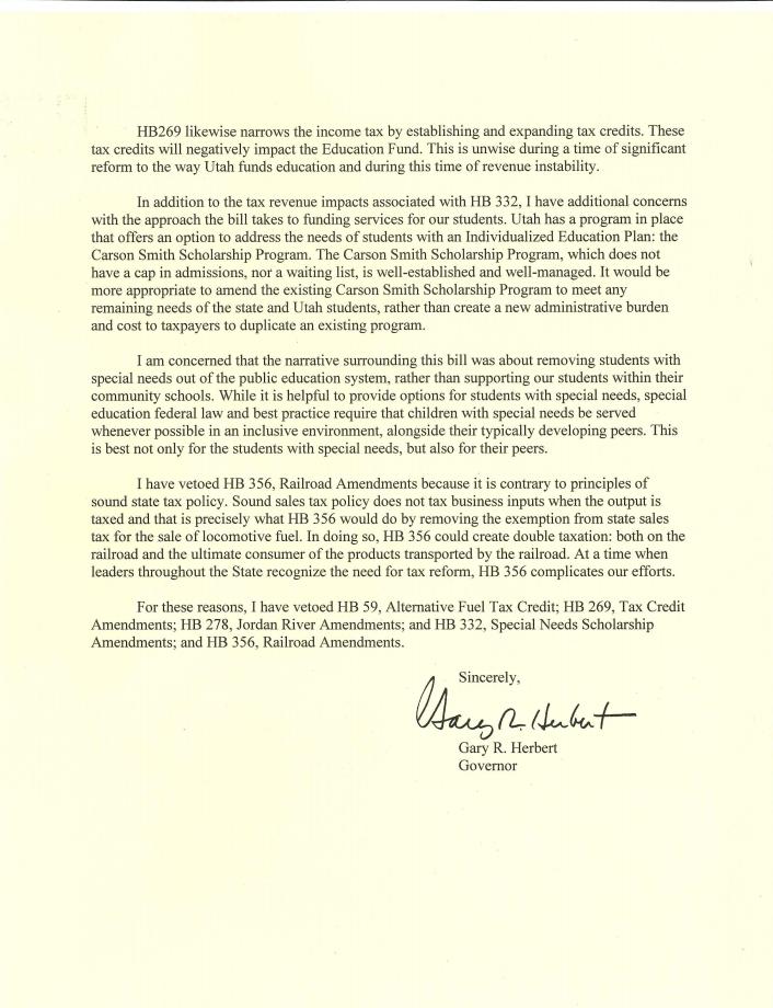 governor veto letter 2