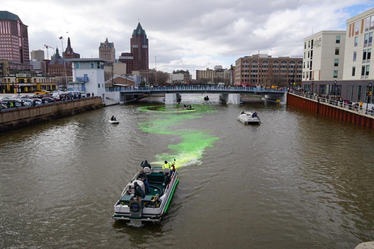 The Milwaukee River turns green in honor of the Bucks postseason