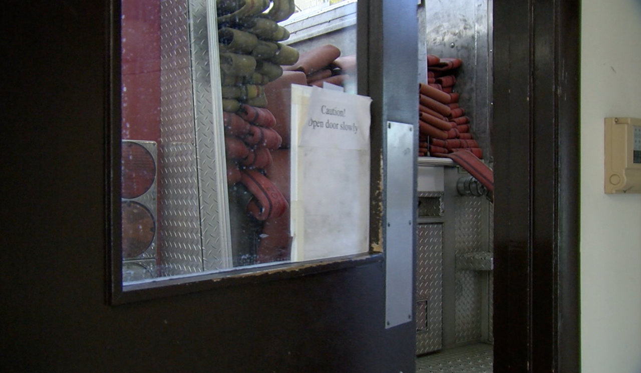 Fire Station 49 in Madisonville's kitchen door is inches from a parked truck.