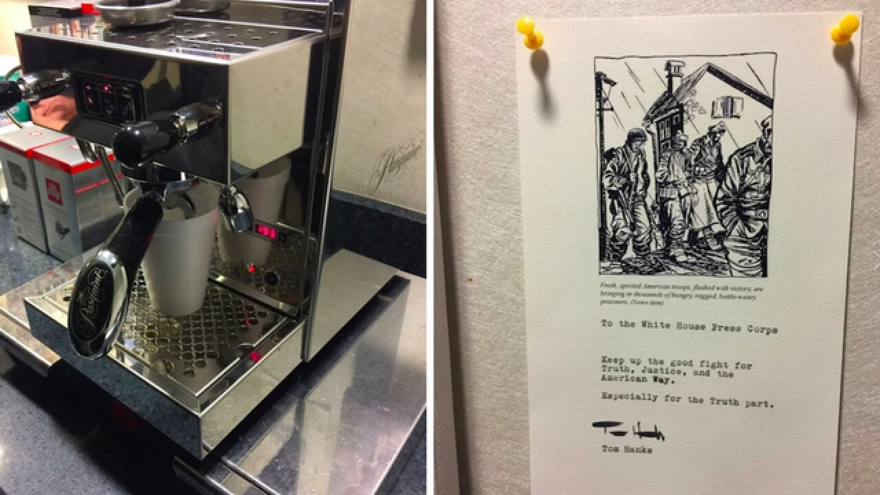 Actor Tom Hanks sent an espresso machine to White House reporters