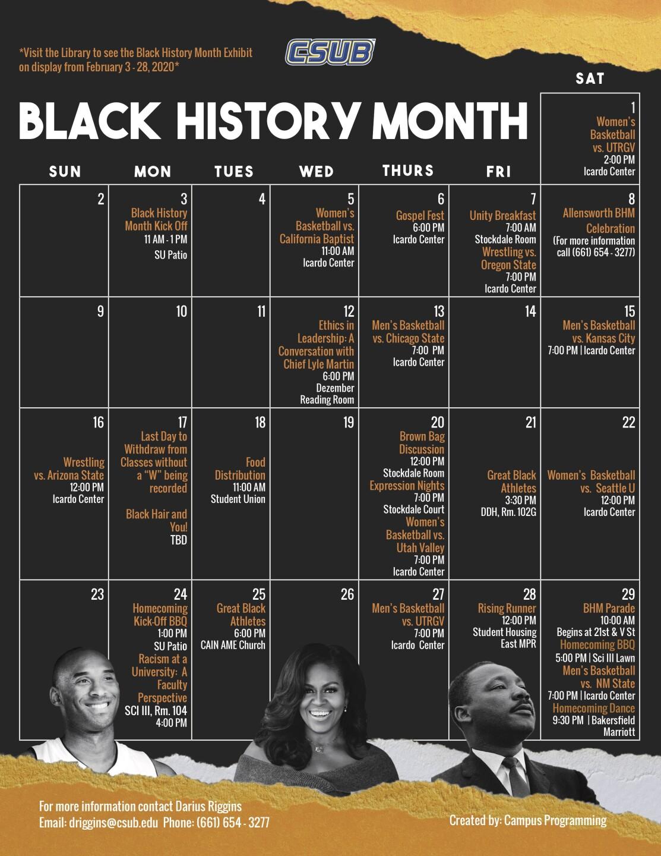 CSUB BLACK HISTORY MONTH 2020 SCHEDULE