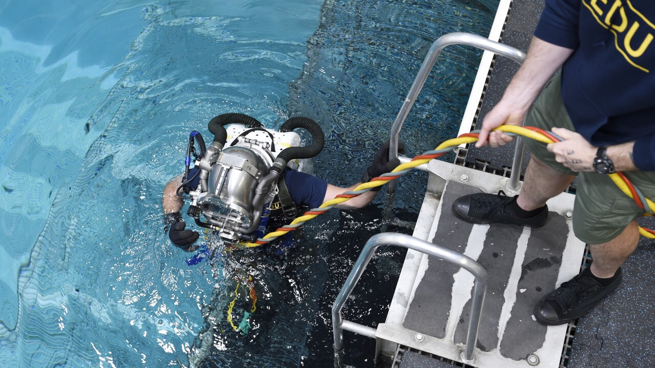 Navy divers testing new rebreather to help conserve helium on deep sea dives