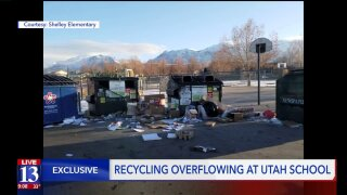 Utah County school left with big mess around recyclingbins
