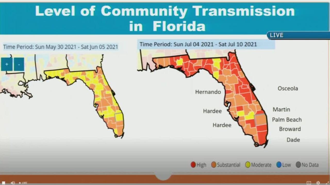 COVID-19 community spread in Florida on July 13, 2021.jpg