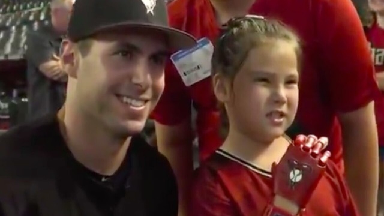 WATCH: 8-year-old girl throws 1st pitch at Diamondbacks game with 3D-printed hand