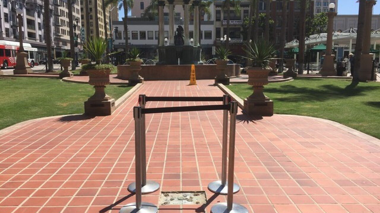 Confederate marker removed from Horton Plaza