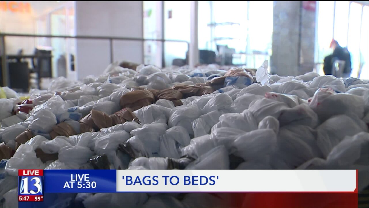 Turning plastic bags into beds for Utah's homeless