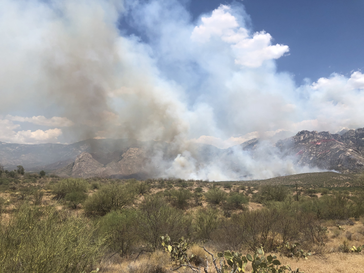 The Bighorn Fire continues it's slow spread northeast of Catalina State Park