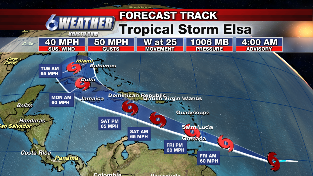 6WEATHER Tropical Forecast Track for Elsa
