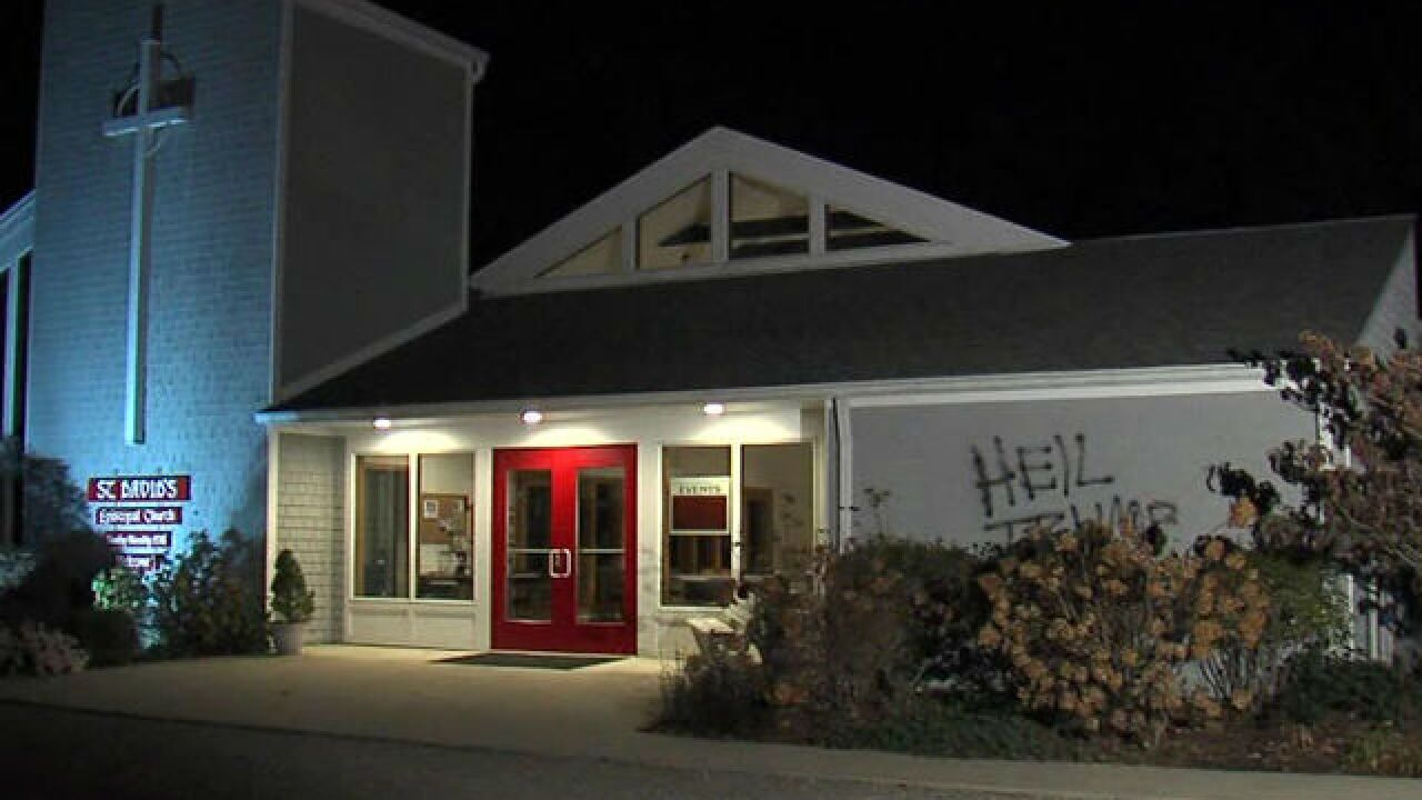 Hateful words, images painted on Ind. church