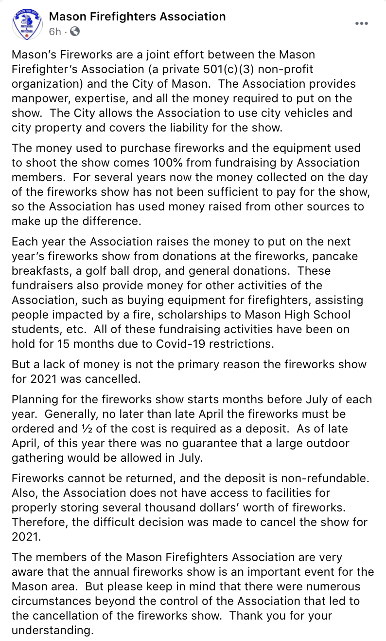 Mason Firefighters Association Facebook Post