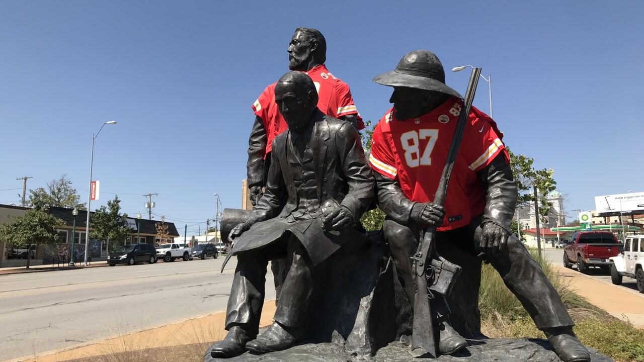 Chiefs jerseys on statues