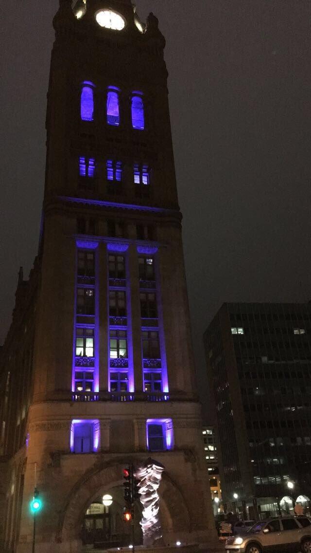 Milwaukee was lit up in blue across the city to honor Fallen Officer Matthew Rittner