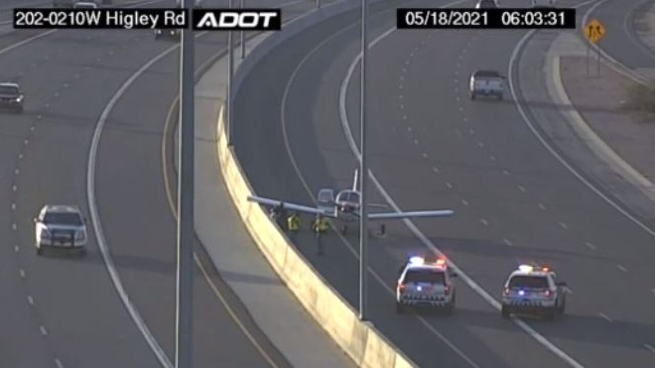 The HOV lane on a Mesa freeway was beyond fully occupied Tuesday by a small passenger plane. Photo via ADOT.