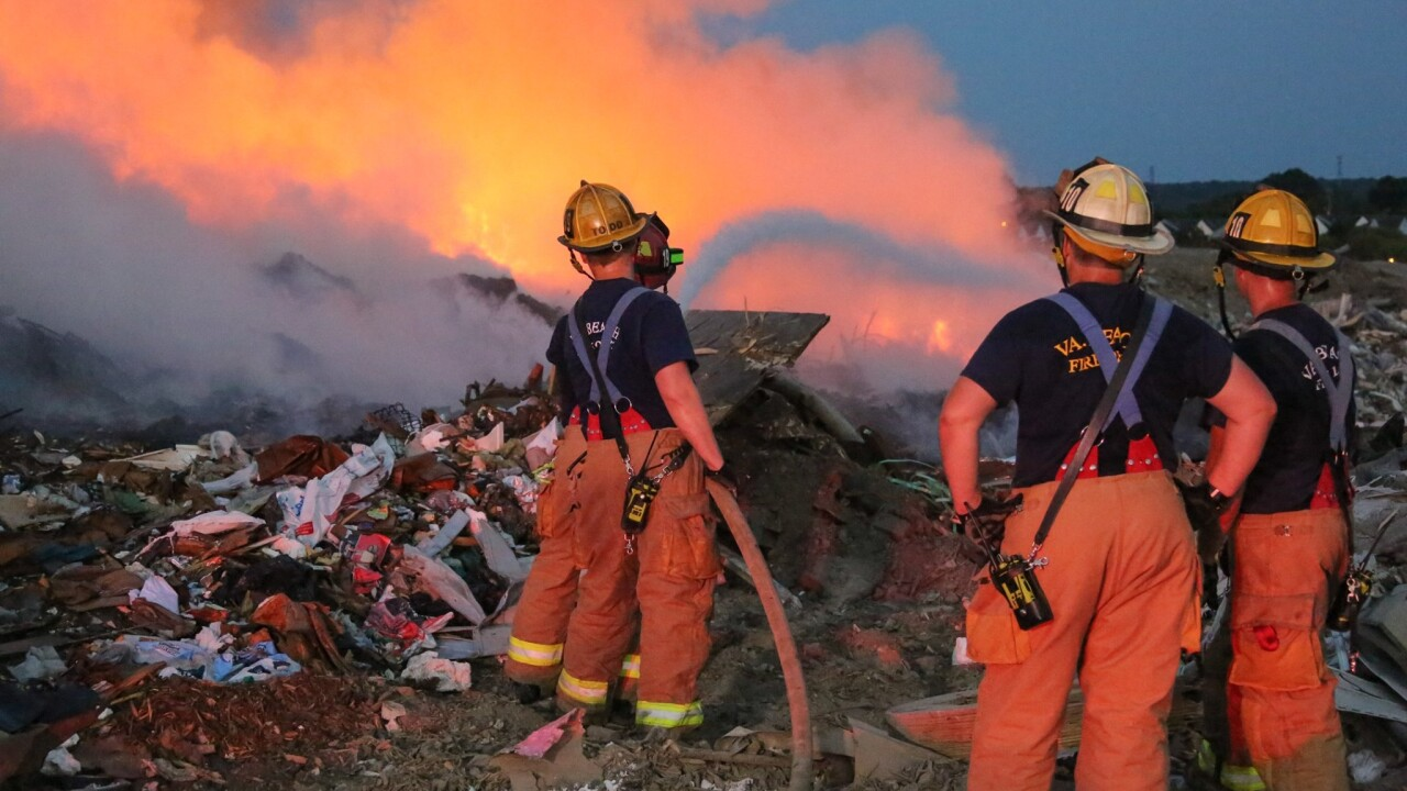 Virginia Beach firefighters respond to landfill fire