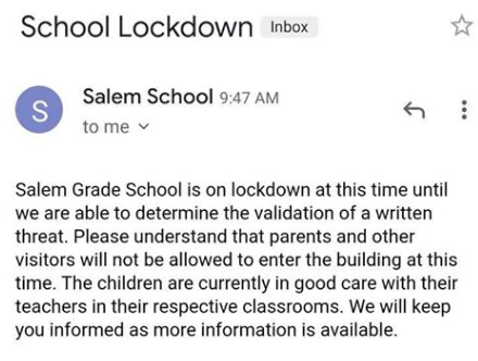 Salem Grade School lockdown email