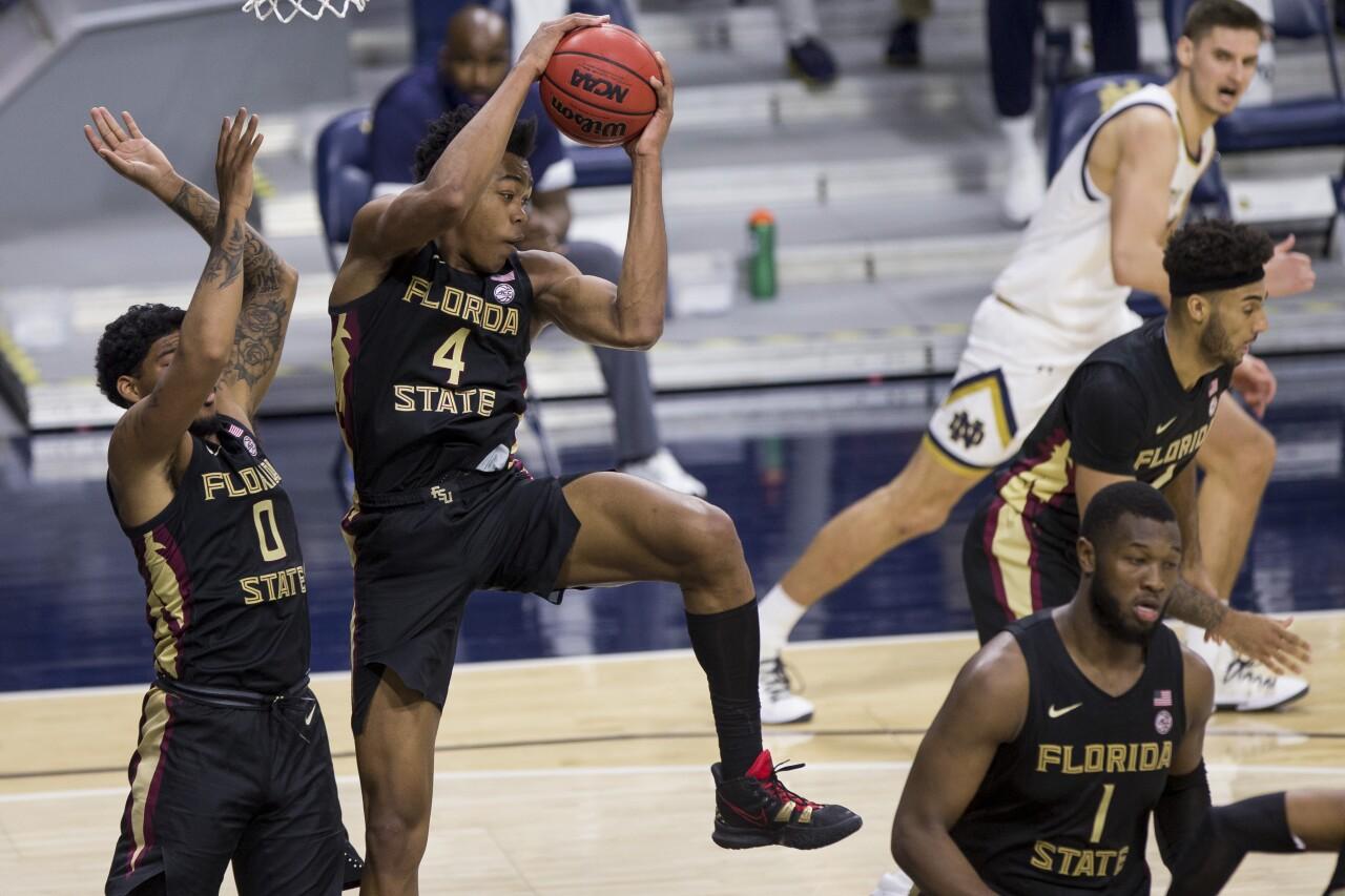 Florida State Seminoles guard Scottie Barnes grabs rebound at Notre Dame Fighting Irish, March 6, 2021