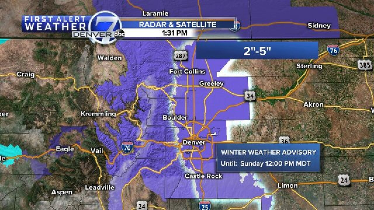 Highs in the 60s in Denver Friday, snow Sunday