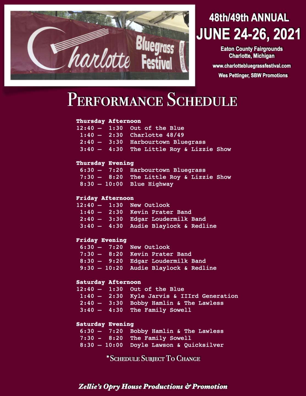 Charlotte Bluegrass Festival flyer