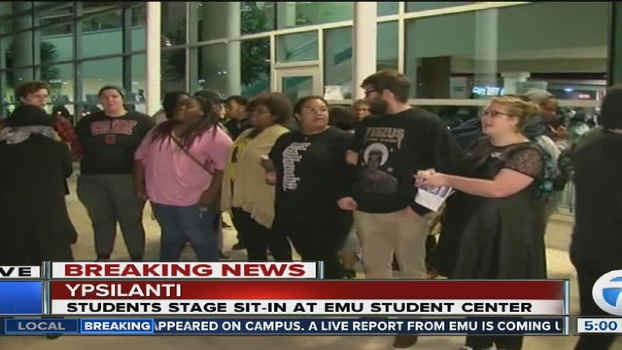 EMU students hold sit-in protest on campus