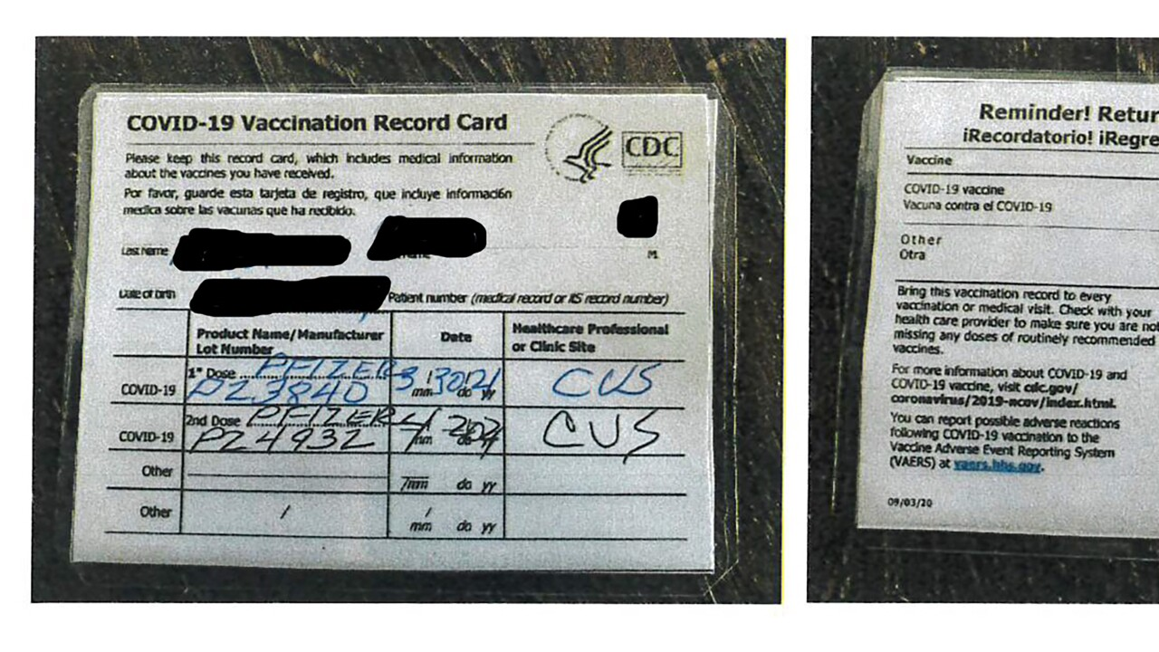 Fake Vaccination Cards