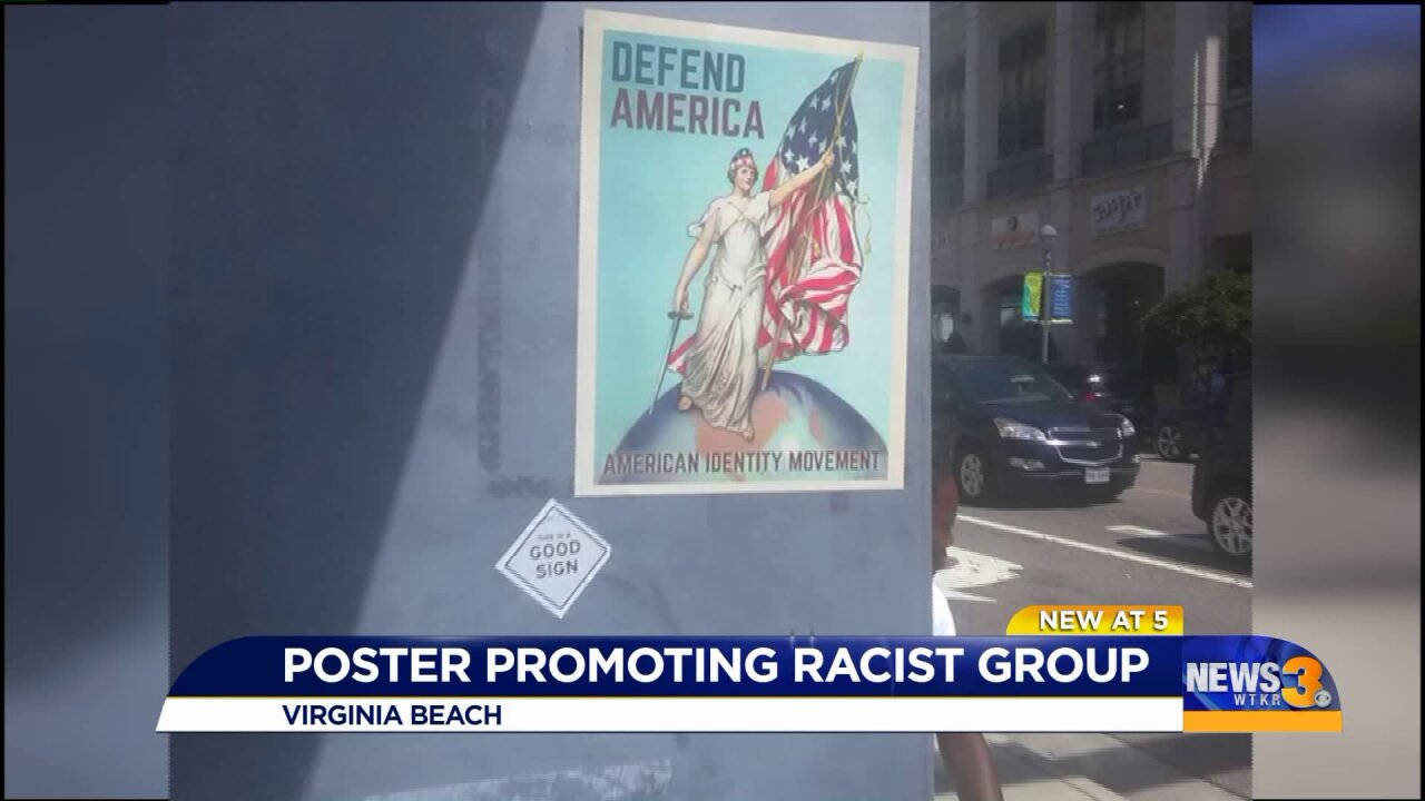 Poster from group promoting white supremacy spotted at Virginia Beach Oceanfront
