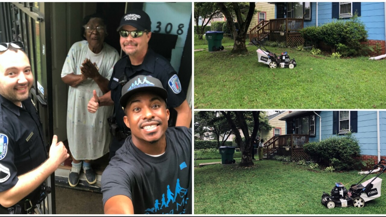 Lawn and Order: Richmond officers cut grass for 'sweetestlady'