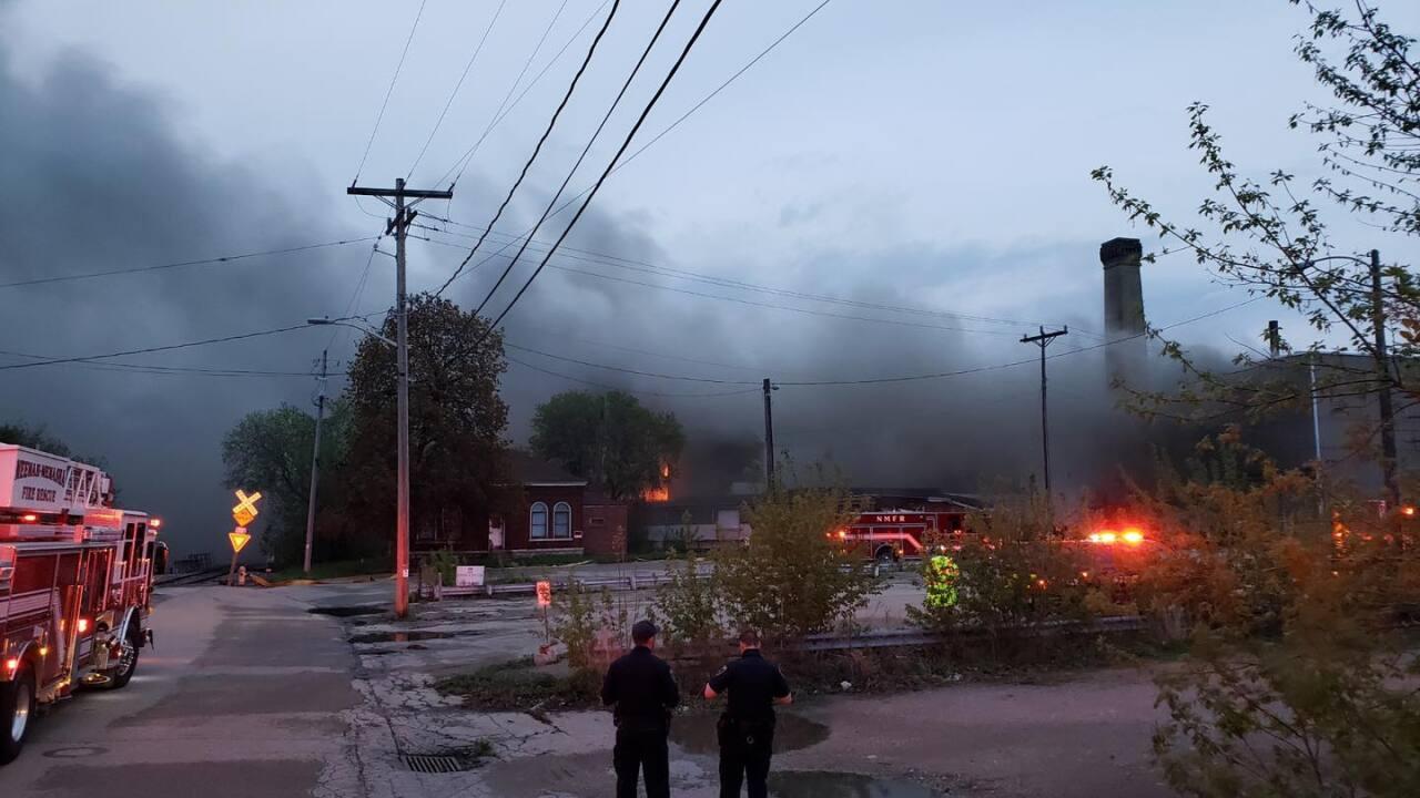 Fire at Whiting Mill in Menasha. Courtesy: Neenah Menasha Fire Rescue