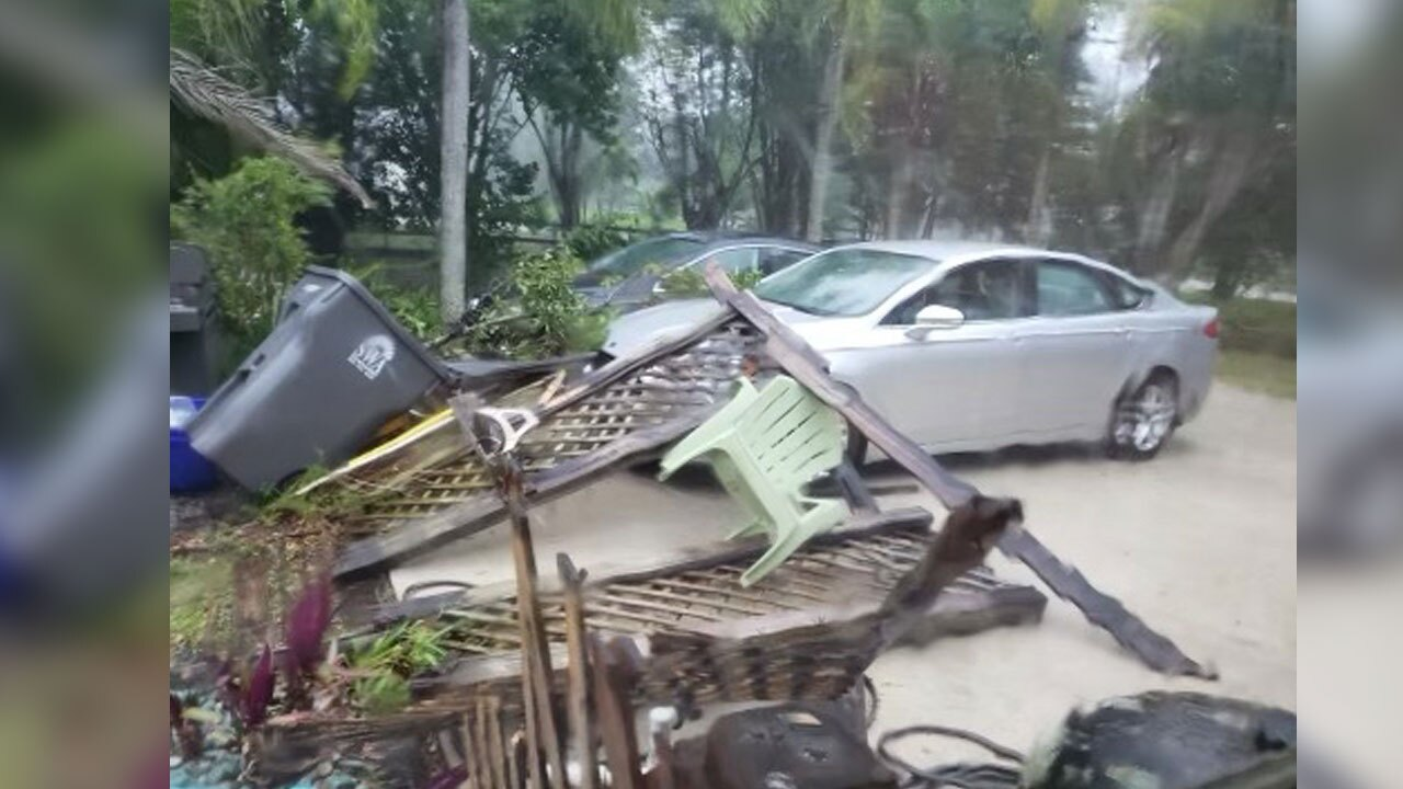Strong winds scattered debris in Palm Beach Country Estates on April 11, 2021