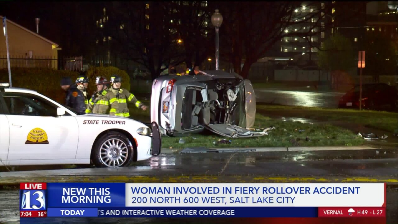 Police officer extinguishes fire after witnessing crash in SLC; driver in criticalcondition
