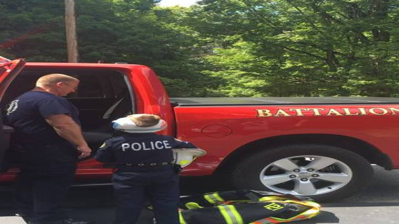 Police, fire, EMS cheer up boy after surgery