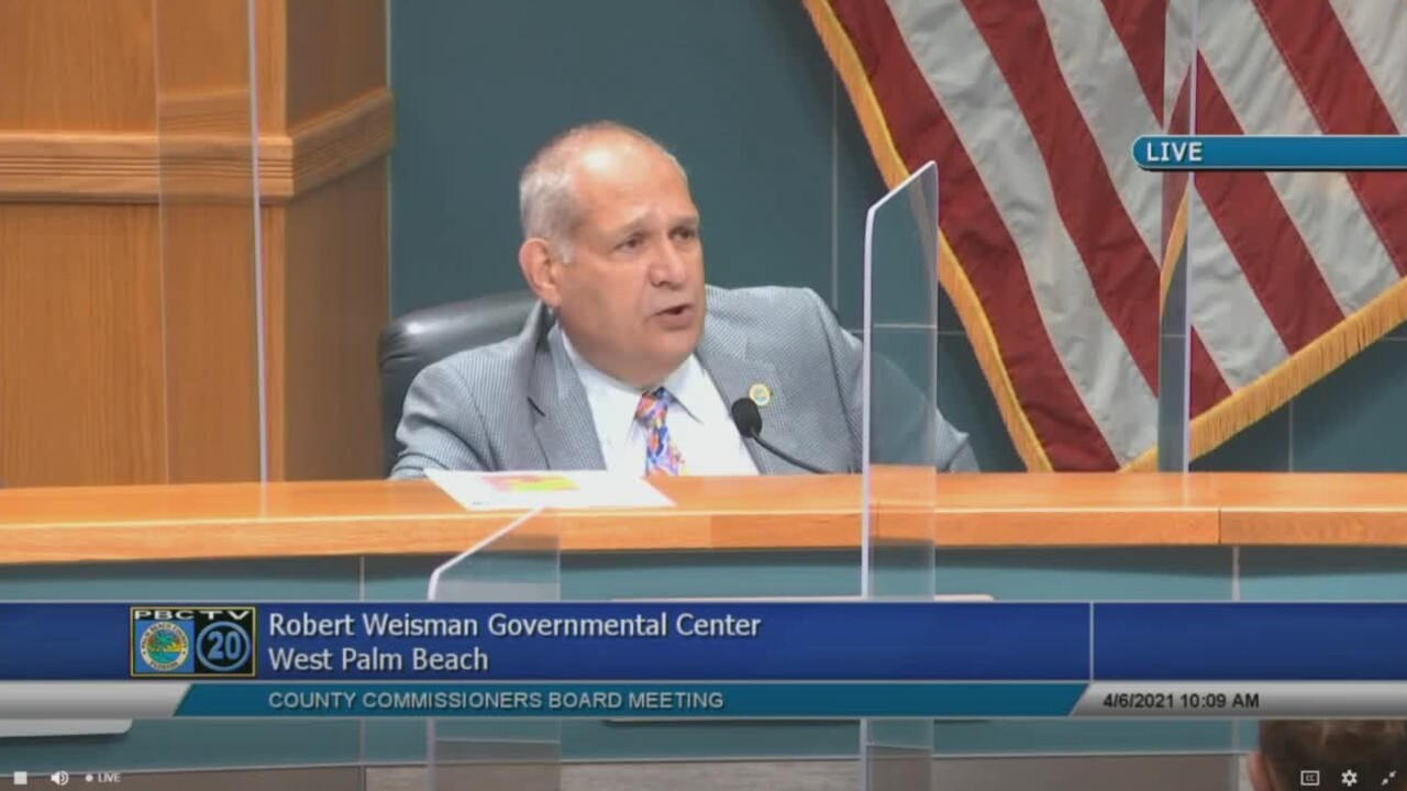 Palm Beach County Vice Mayor Robert Weinroth speaks at a county commission meeting on April 6, 2021.jpg