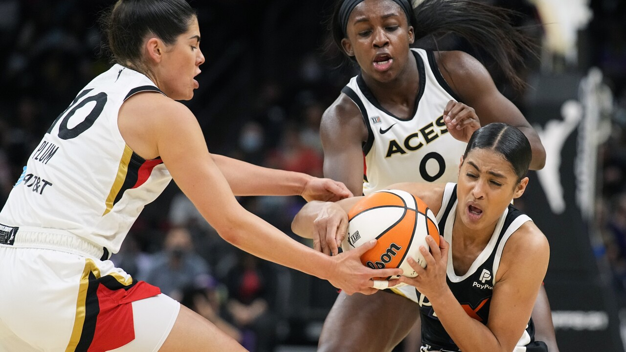 Chelsea Gray scored 22 points and the Las Vegas Aces used a massive third quarter run to beat the Phoenix Mercury 93-76, evening the WNBA semifinals at 2-all. AP photo.
