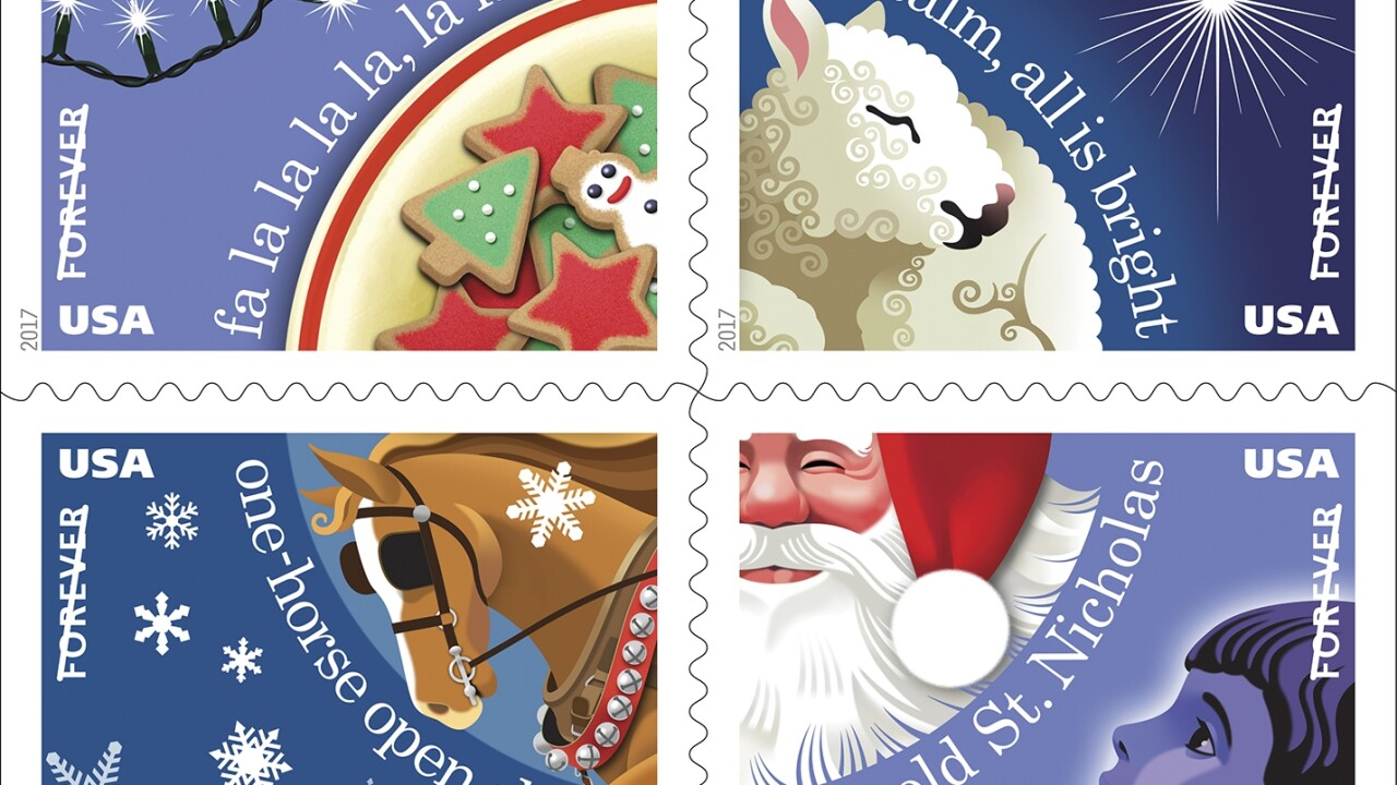 U.S. Postal Service release new Christmas carol themed stamps
