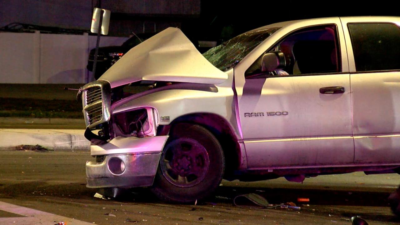 pickup truck crash into HART bus