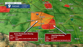 Severe Thunderstorm Warning in Pima County