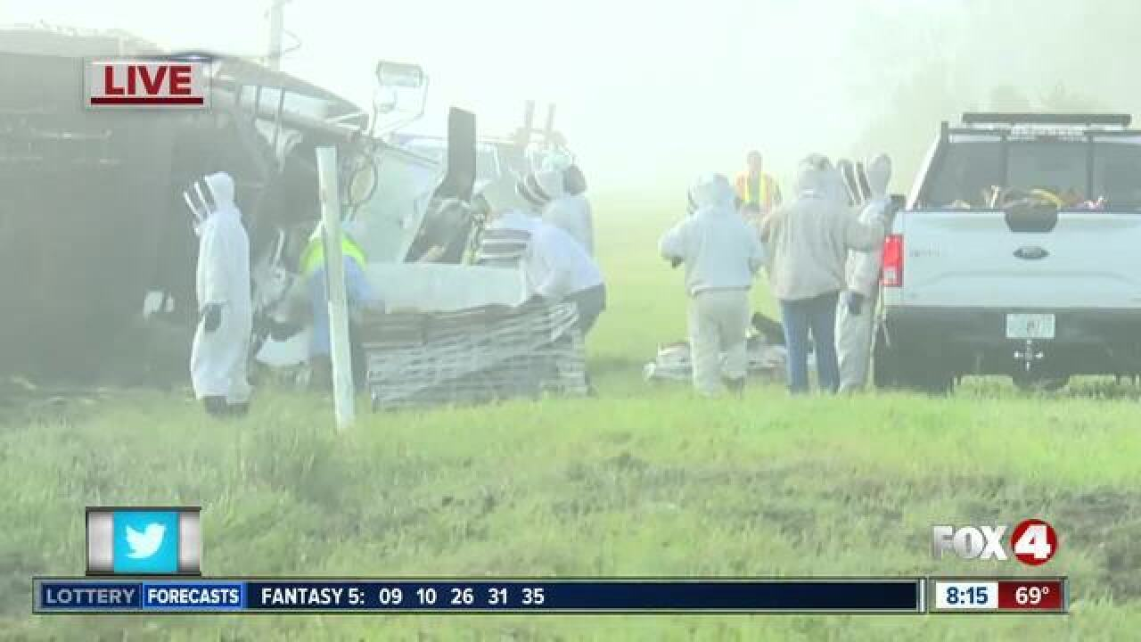 Bee truck overturns in Charlotte County