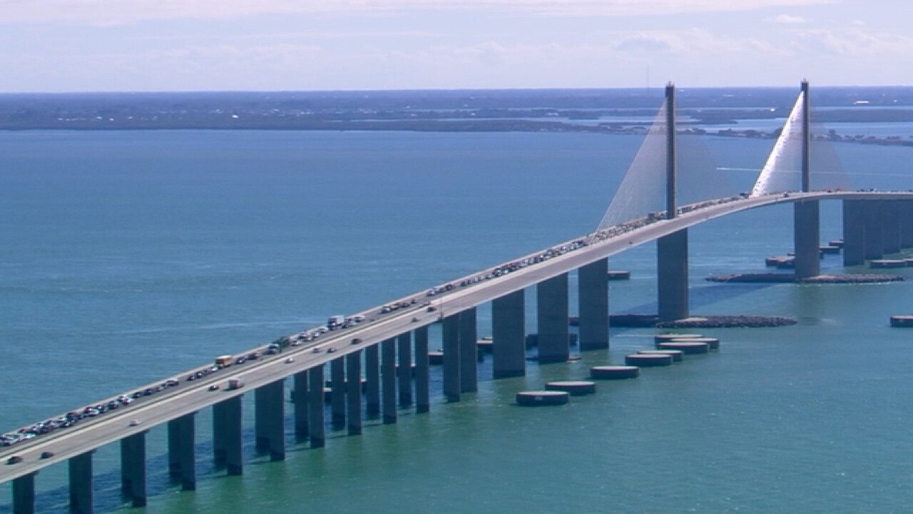 Dump truck overturns on Skyway Bridge