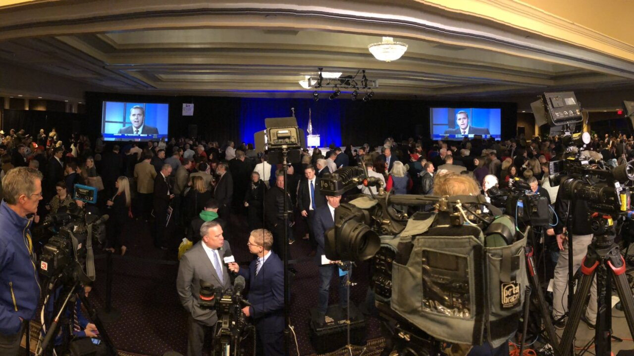 Ballroom at the Galt House is filling up before the results of the 2019 Kentucky gubernatorial election results