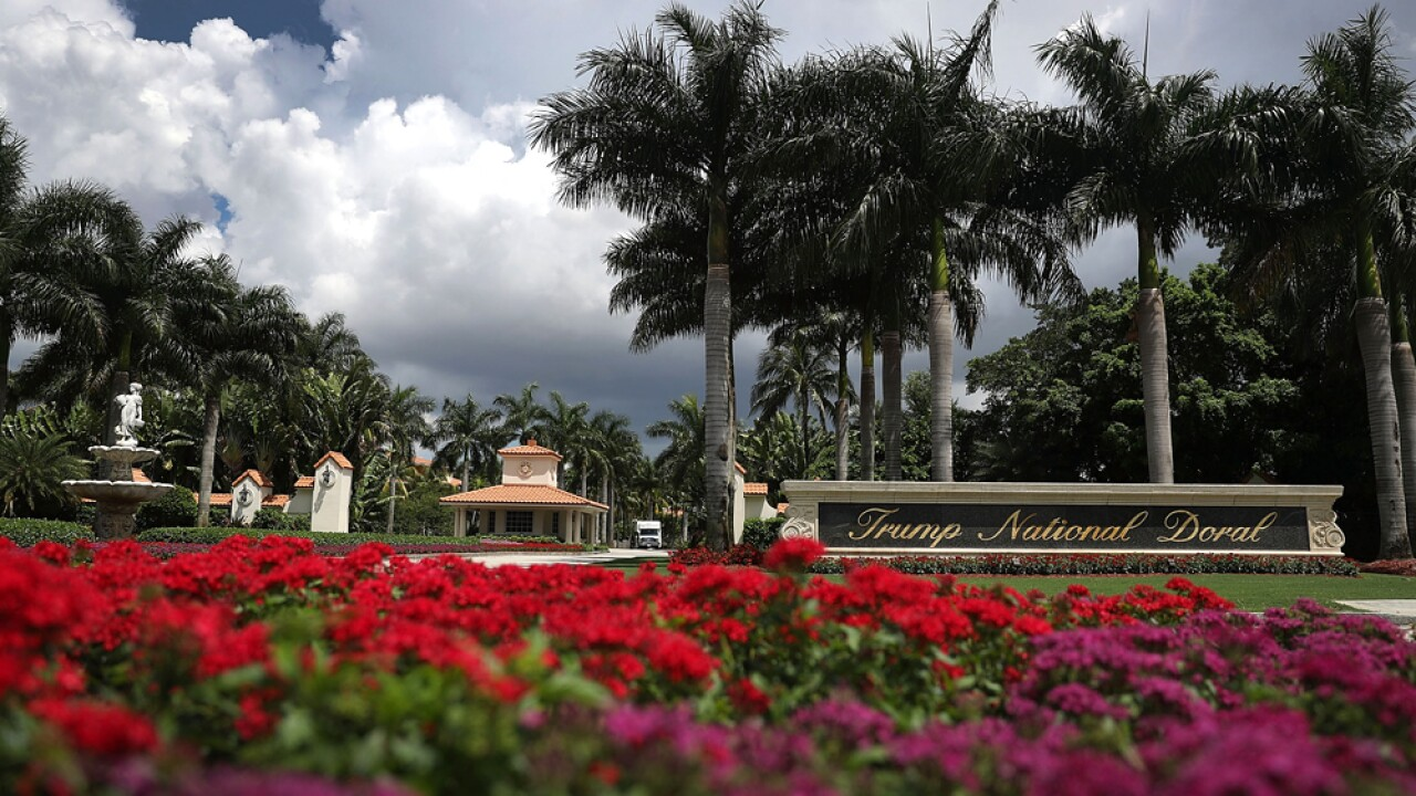 The front entrance to the Trump National Doral is seen where a golf course owned by Republican presidential candidate Donald Trump is located on June 1, 2016 in Doral, Florida. Reports indicate that a PGA Tour event that has been held at the Trump National Doral since 1961 is heading to Mexico City in 2017.