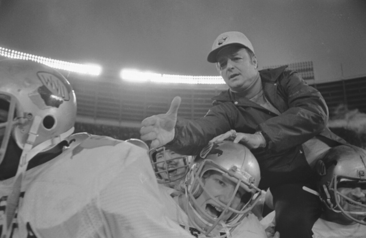 Bobby Bowden after 1975 Peach Bowl victory as head coach of West Virginia Mountaineers