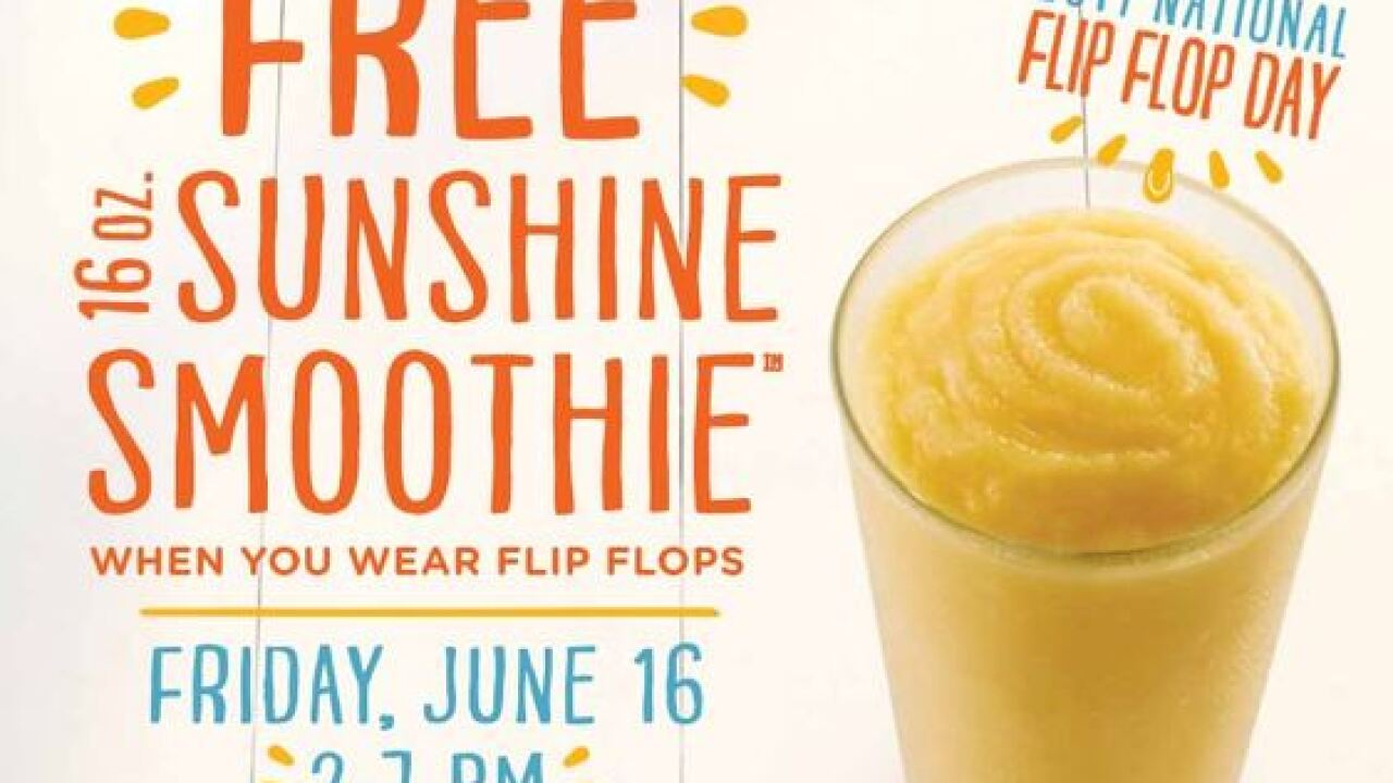 Free smoothies from Tropical Smoothie on National Flip Flop Day