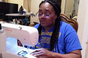 Denise Jones makes masks for health care workers