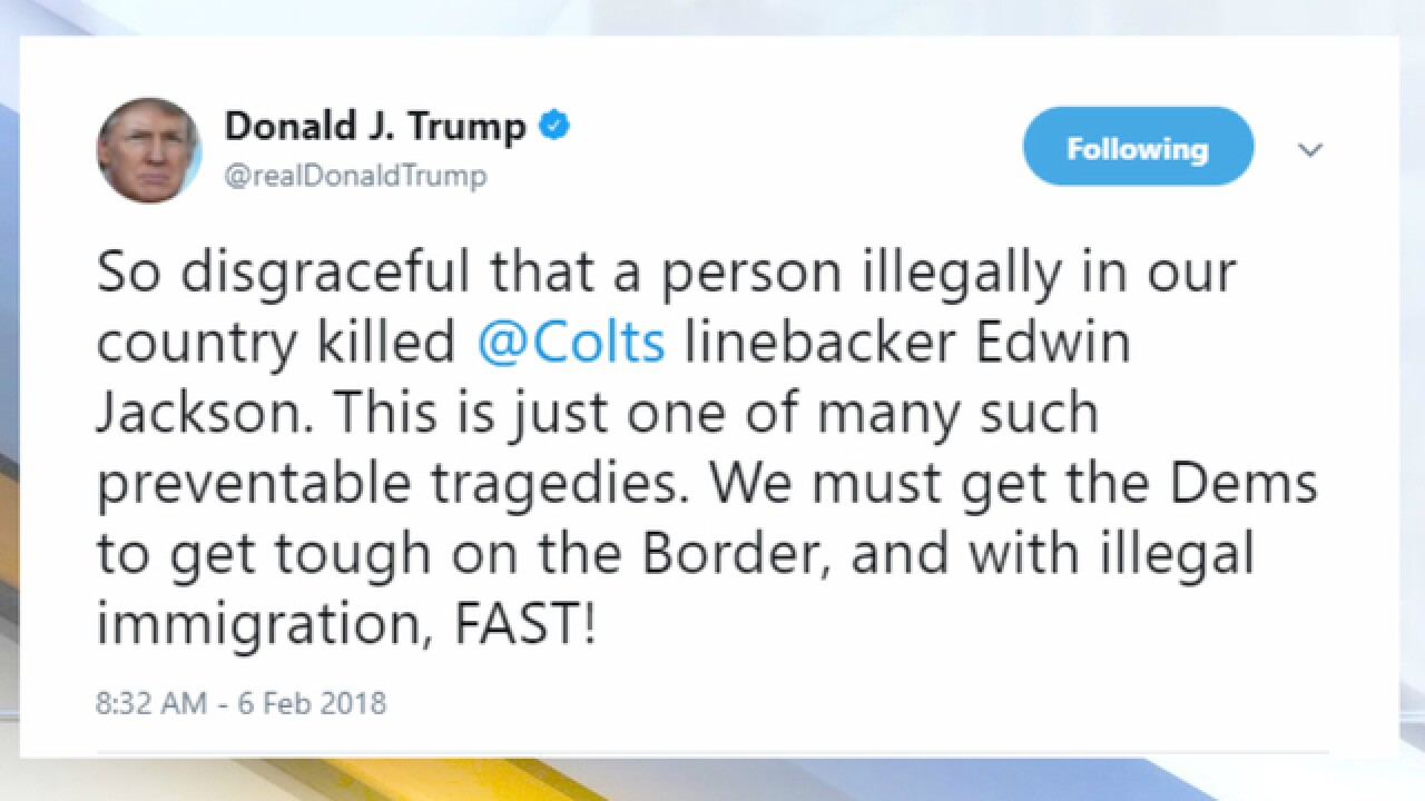 President Trump tweets about Edwin Jackson death